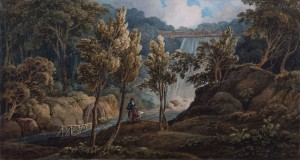 Thomas Hornor's 1815 painting of the waterfall at Pont Felin Gat.