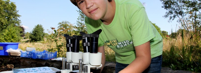 Young man looks through microscope at creatures he has found in the pond