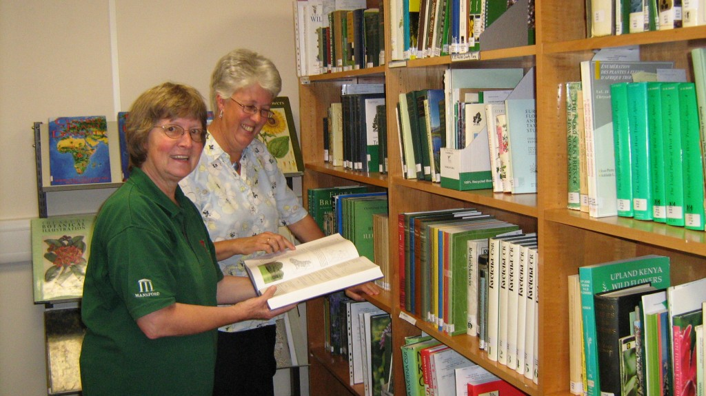 Volunteers Margot Greer and Kate Jones help to run the Garden's library and archives