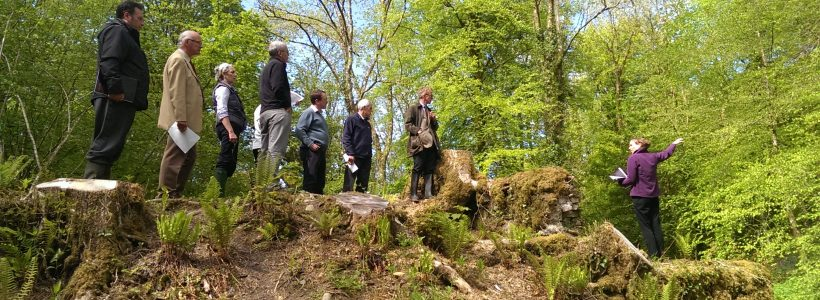 Members of the Regency restoration project steering group standing on Llyn Felin Gat dam