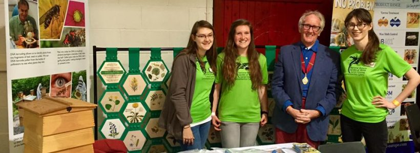 Our Science team, Alice, Lucy and Laura with Tony Shaw, President of the Welsh Beekeepers' Association